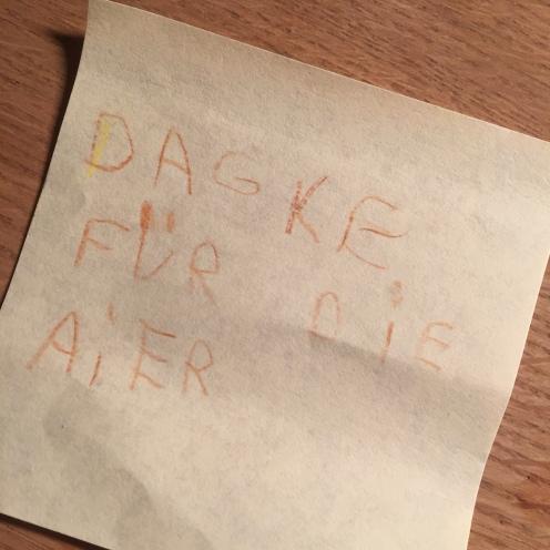 """""""Danke!""""-Notiz für den Osterhasen."""