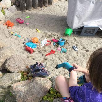 Sandkasten beim Strandkorb.