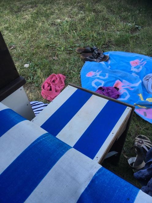 Strandkorb, besetzt